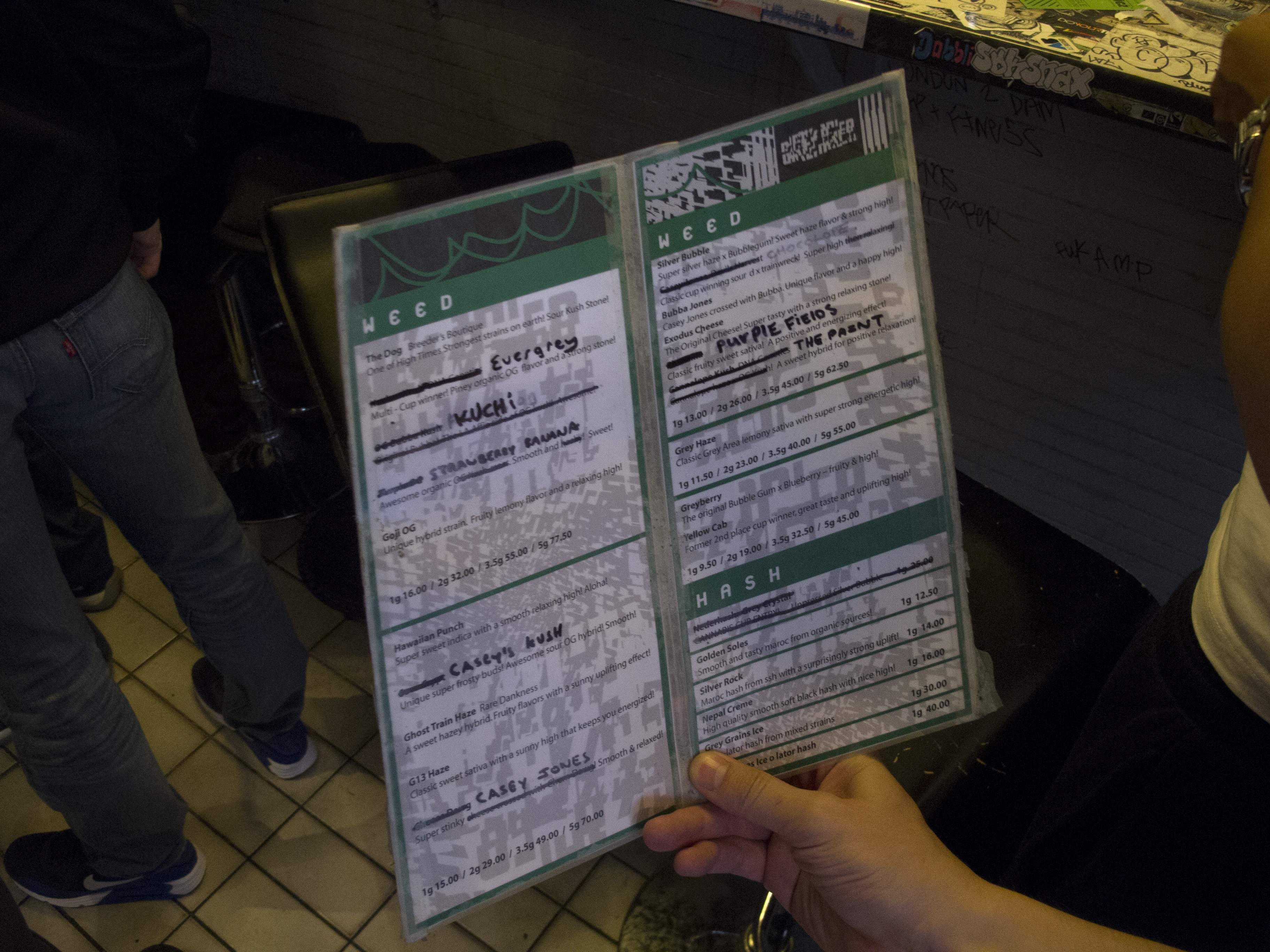 Carte des Weed et Hashish du Coffeeshop Grey Area à Amsterdam